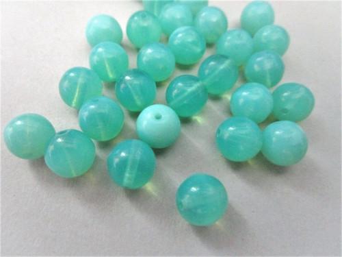 Green opal 8mm round Czech beads