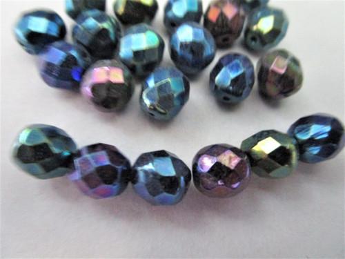 Green Iris 8mm faceted round Czech beads