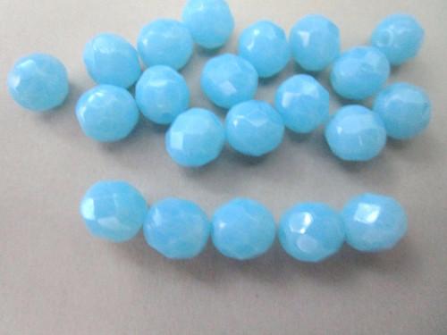 Powder blue opal 8mm faceted round Czech beads