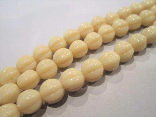 Opaque beige 8mm melon Czech beads