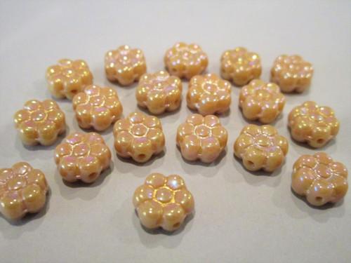 Opaque beige 8mm daisy flower Czech beads