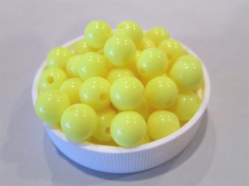 Opaque yellow 8mm round acrylic plastic beads