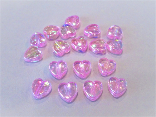 Pink ab 8mm heart acrylic beads