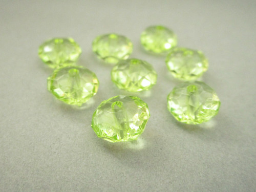 Transparent green 11mm faceted rondelle acrylic beads