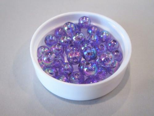 Transparent purple ab 6mm round acrylic beads