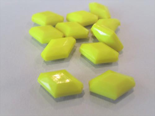 Opaque yellow 16x11mm diamond acrylic beads