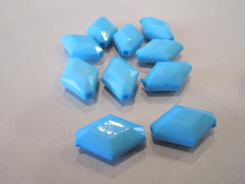 Opaque blue 16x11mm diamond acrylic beads
