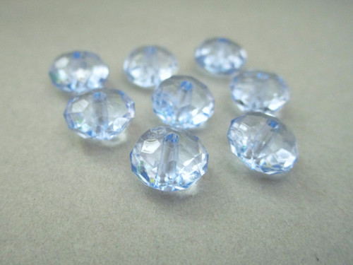 Transparent blue 11mm faceted rondelle acrylic beads