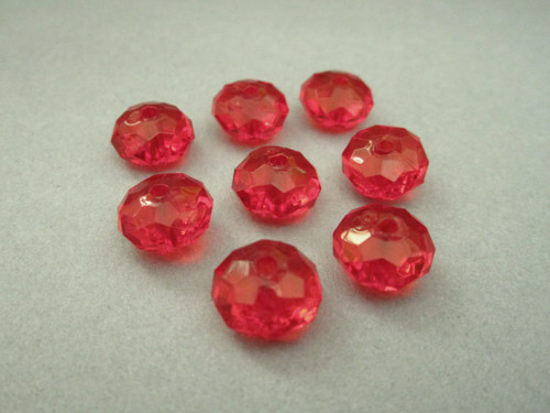 Transparent Red 11mm faceted rondelle acrylic beads