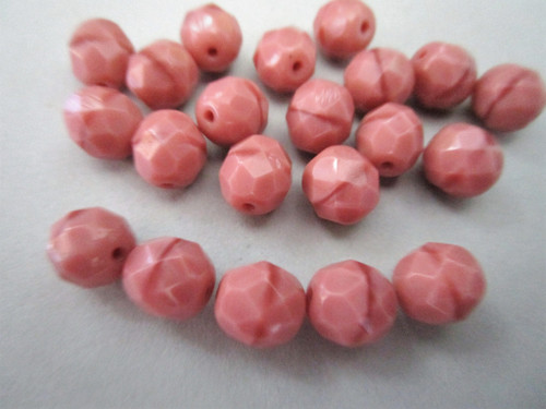 Opaque pink satin 8mm faceted round Czech beads