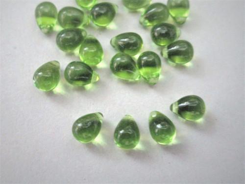 Olivine green 5x7mm Teardrop Top Drilled Czech beads