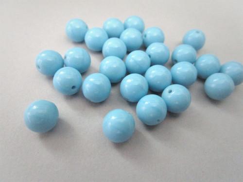 Opaque turquoise blue 8mm round druk Czech glass beads