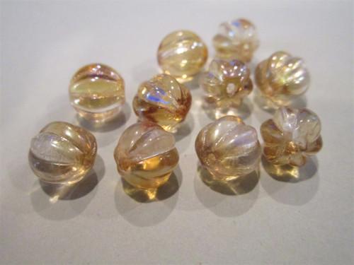 Crystal celsian 8mm melon Czech glass beads