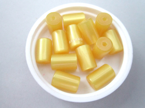 Yellow moonglow 8x12mm tube vintage lucite beads