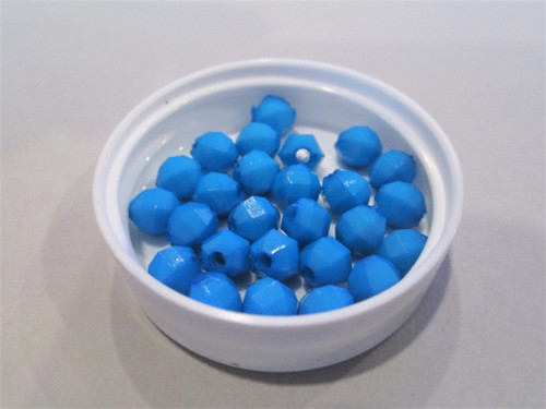 Opaque blue 6mm faceted round acrylic beads