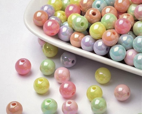 Assorted pastel ab 8mm round acrylic beads