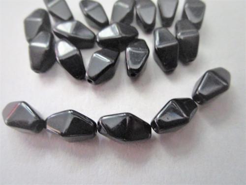 Jet black 11x7mm lantern bicone Czech glass beads