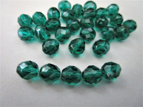 Teal 8mm faceted round Czech glass beads