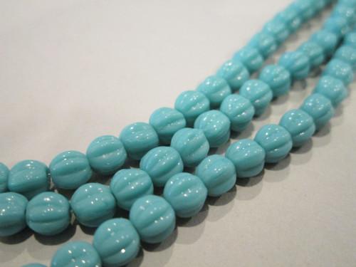Opaque turquoise blue 5mm melon Czech glass beads