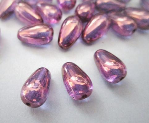 Lumi amethyst purple 10x6mm teardrop Czech glass beads