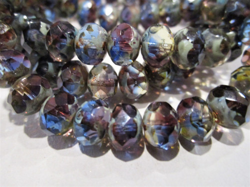 Blue purple picasso 8x6mm faceted rondelle Czech glass beads