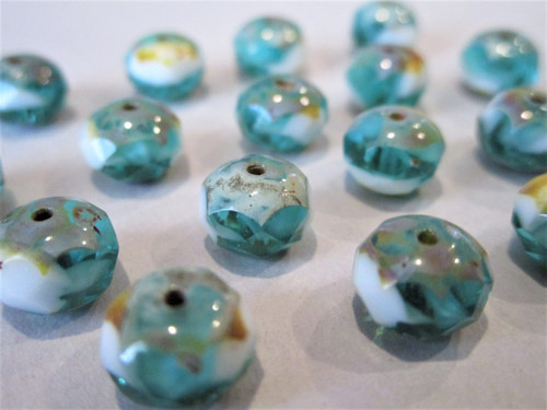 Teal white picasso 8x6mm faceted rondelle Czech glass beads