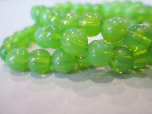 Green apple 6mm round druk Czech glass beads