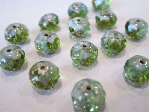 Peridot green picasso 8x6mm faceted rondelle Czech glass beads