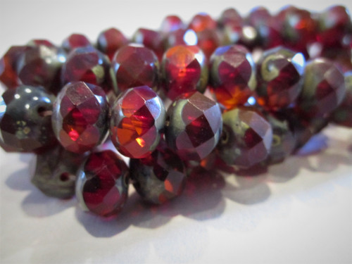 Red orange ladybug picasso 8x6mm faceted rondelle Czech glass beads