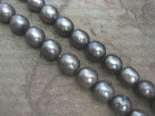 Gray 9mm rice freshwater pearl beads