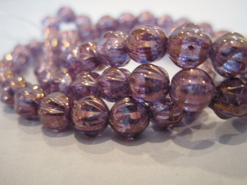 Purple violet gold luster 6mm melon Czech glass beads