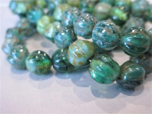 Green sky blue picasso 8mm melon Czech glass beads