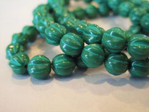 Hunter green wash 6mm melon Czech glass beads