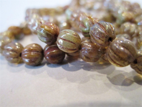 Champagne brown picasso 5mm melon Czech glass beads