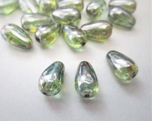 Lumi green 10x6mm teardrop Czech glass beads
