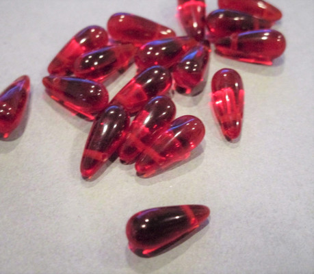 Siam red 5x12mm teardrop Czech glass beads