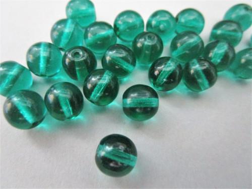 Transparent teal 6mm round druk Czech glass beads