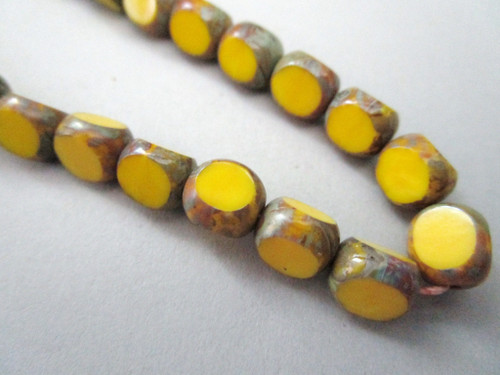 Opaque yellow picasso 8mm 3 cut round Czech glass beads
