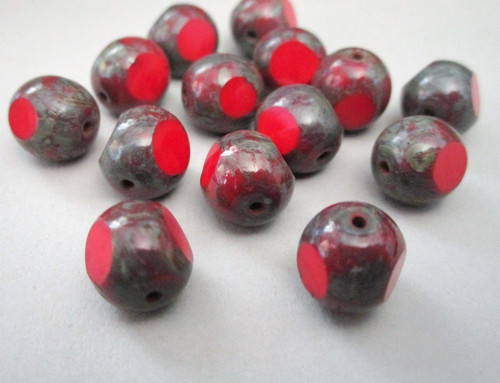 Red picasso 10mm 3 cut round Czech glass beads