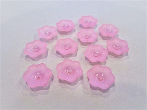 Frosted pink 11mm petunia flower acrylic plastic beads