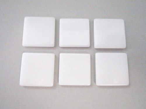 White 21mm square vintage lucite cabochon