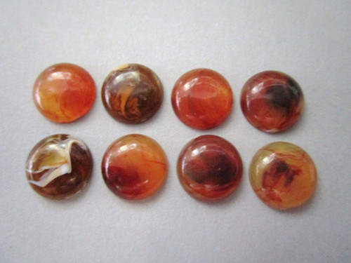 Brown marble 10mm round vintage lucite cabochon