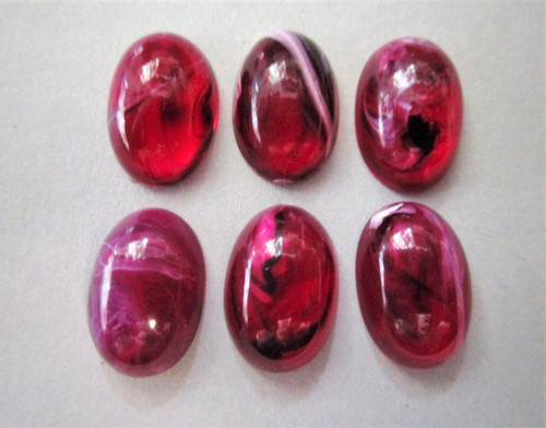 Pink marble 9x14mm oval vintage lucite cabochon