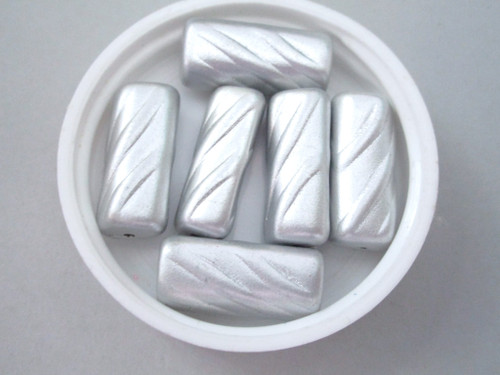 Gray 23mm tube vintage pearl lucite beads