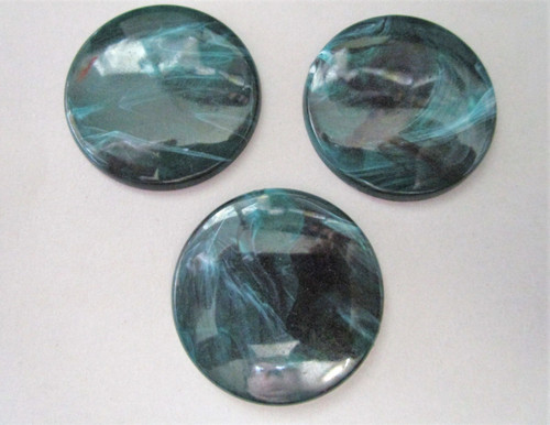 Green marble 35mm round vintage lucite cabochon