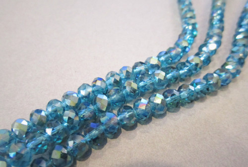 Transparent blue ab 6x4mm faceted rondelle crystal glass beads