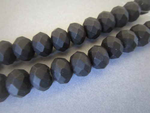 Black 8mm faceted rondelle rubberized glass beads
