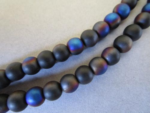 Black ab 6mm round glass beads