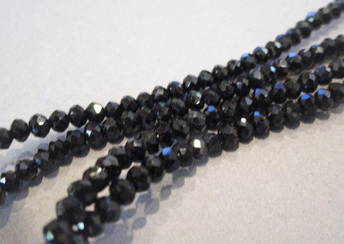 Black 3mm faceted rondelle crystal glass beads