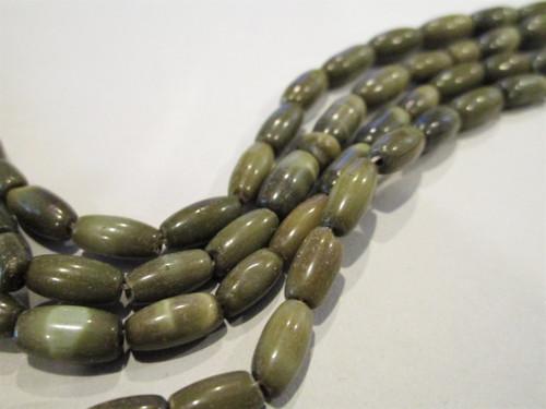 Green Oval Cat eye glass beads